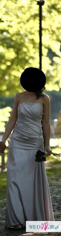 Suknia ślubna, kolor srebrny, rozmiar 38 + GRATIS