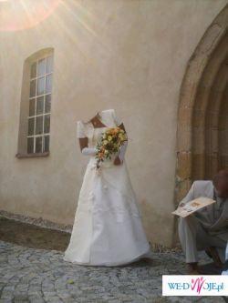 Suknia Slubna koloru ecru, rozmiar 38.