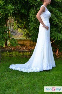 Suknia Ślubna Koronka Tren - plecy w V - Sincernity Ivory 36/37