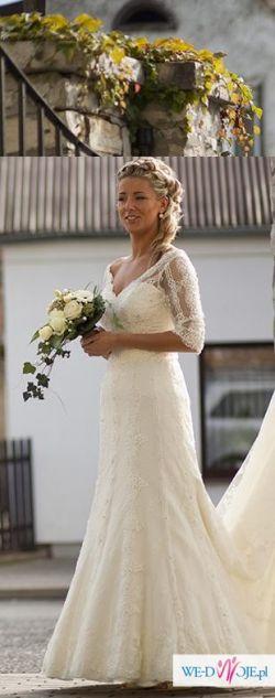 Suknia ślubna koronkowa niepowtarzalna S-M OKAZJA