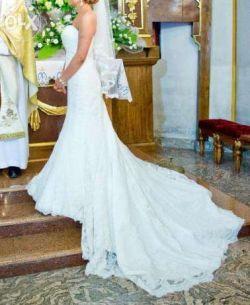 f44d312b86ea5 Suknia ślubna koronkowa śmietankowa rybka syrena AMY LOVE ALYSHIA + welon i  halka IDEALNIE PODKREŚLA FIGURĘ