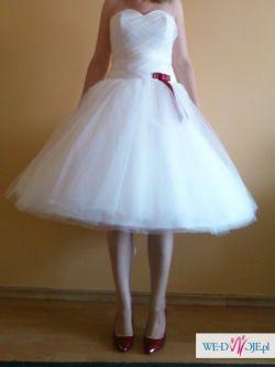 Suknia ślubna krótka kolor ivory rozmiar 38 z kołem i gorsetem