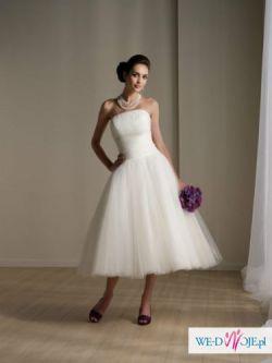 suknia ślubna krótka retro tiulowa hepburn