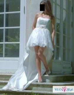 suknia ślubna, krótka z przodu, herm's