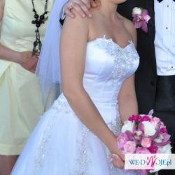 Suknia ślubna księżniczka rozmiar 38, gratis bolerko, halka, welon