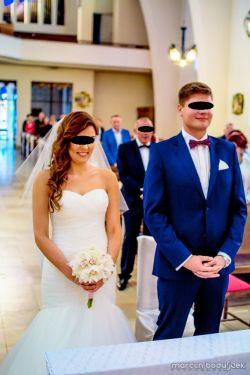 Suknia ślubna Mori Lee 38 M rybka syrenka dekolt serduszko
