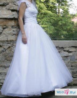 Suknia ślubna na szczupłą osobę - koronka, rozm.36