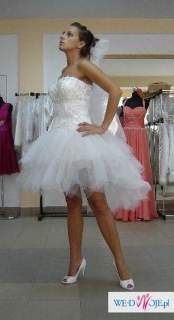 Suknia ślubna Nowa Biała 3840 Tiulowa Długa Krótka 2w1