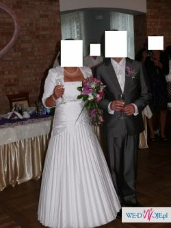 Suknia Ślubna plisowana Firmy Duber Welon Bolerko