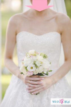 Suknia ślubna PRONOVIAS 2015 oryginalna koronka pas kryształki princessa