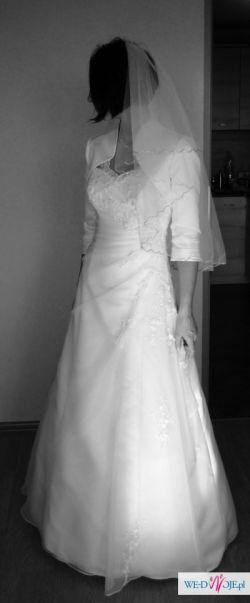 Suknia ślubna rozm. 36/38, welon i bolerko gratis