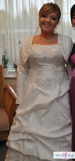Suknia ślubna rozm. 38-42 + 2 bolerka + welon + ozdoby do włosów 600 zł DO NEGOC