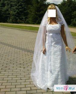 suknia slubna rozm 38 cała z koronki
