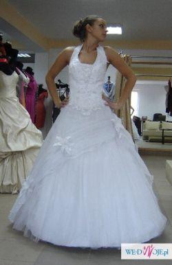 Suknia ślubna rozm. 40-44 biała princessa brokatowy tiul