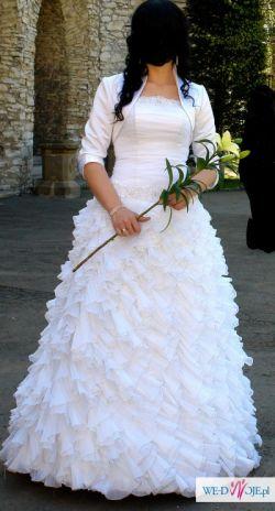 Suknia ślubna, rozm 40, biała, organza, oryginalna