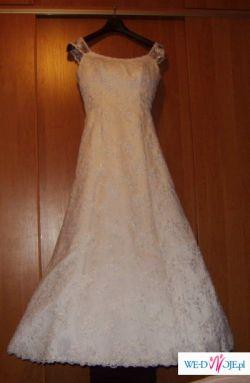 Suknia ślubna rozmiar 38, koronkowe ramiączka welon gratis