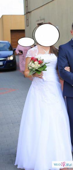 Suknia ślubna rozmiar 40/42, wiązany gorset