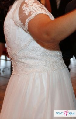 Suknia ślubna rozmiar 44/46 + gratis (KORONKOWE BOLERKO)