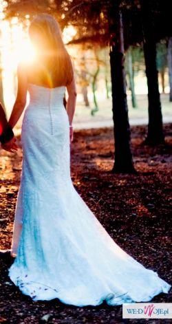 Suknia ślubna - rybka, koronka, ivory, rozm.36