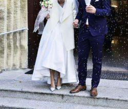Suknia ślubna satynowa a'la la mania krótszy przód