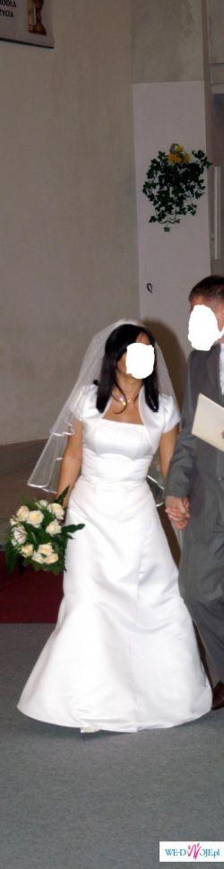 Suknia ślubna - skromna - ecru - rozmiar 38