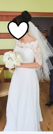 Suknia ślubna Sonia M 2016 SONATA + koronka hiszpańska + welon/r.36-38