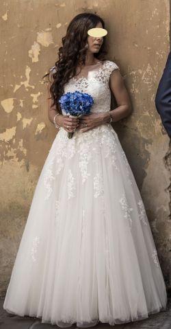 Suknia ślubna SPOSABELLA DREAM salon Madonna roz. 34/36 śmietankowa biel koronka tren