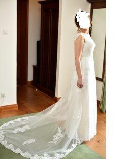 Suknia ślubna sweatheart 6121 + welon obszyty koronką liliana