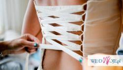 suknia ślubna syrena hiszpanka zdobiona diamentami Swarovskiego unikat
