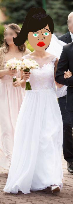 Suknia ślubna + szpilki Zara + welon + koło + ozdoba do włosów