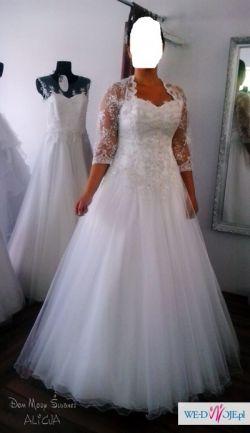 Suknia ślubna tiulowa, iskrząca się