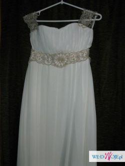 Suknia ślubna w stylu greckim-delikatne ecru