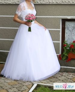 Suknia ślubna + welon + bolerko + halka