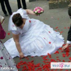 Suknia ślubna+welon+bolerko- kryształki swarowskiego, stan idealny, 46-48-50