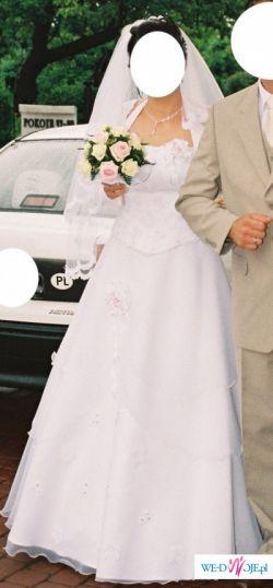 Suknia ślubna+welon+bolerko+rękawiczki+dodatki
