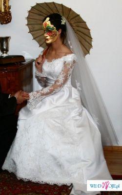 Suknia ślubna wraz z  dodatkami w b.dobrym stanie