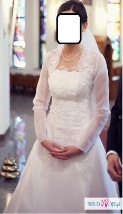 suknia ślubna wyszywana koronką + bolerko - roz. 36