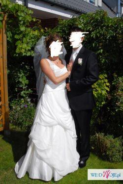 Suknia ślubna z 100% jedwabiu z kryształkami swarovskiwgo!