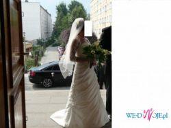 Suknia ślubna z elementami koronki, welon gratis !!!!!!!