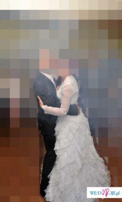 Suknia ślubna z falbanami TANIO!