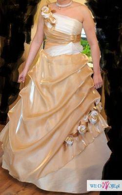 suknia ślubna z halką, złoto i ecru