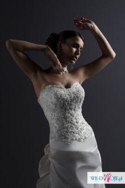 Suknia ślubna z jedwabiu rozmiar 38, 180cm wzrostu Justin Alexander