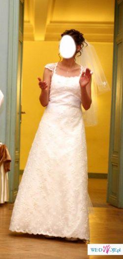 Suknia ślubna z koronki LIVIA delikatne ecru z trenem