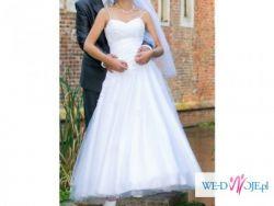 suknia slubna z koronkowa aplikacja r.38
