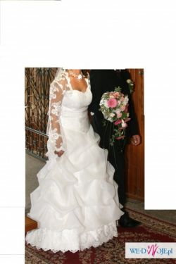 Suknia ślubna z modnym bolerkiem!!38-40, 167-170cm