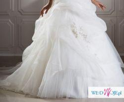 Suknia ślubna z odpinanym trenem MS MODA 2011 tiulowa