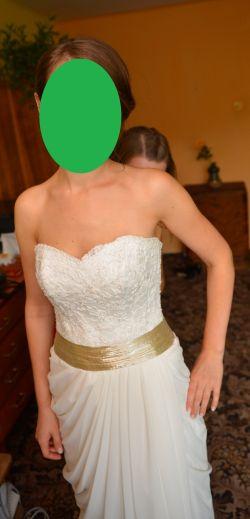 Suknia ślubna z rozcięciem, model Beatrice, grecka, Fulara&Żywczyk, śmietank, roz. 36-38, Brzesko