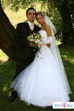 Suknia ślubna z różowymi wstawkami. taniej niż z wypożyczalni!