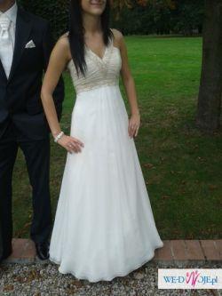Suknia ślubna z salonu Nabla, z muślinu, z trenem