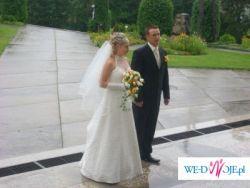 Suknia ślubna z trenem  z salonu EUROSTYL delikatne ecri